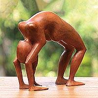 Wood statuette, 'Lithe Yoga Backbend'