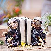 Wood bookends, 'Dogs Like to Read' - Wood bookends