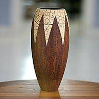 Coconut shell vase Cinnamon Snowcone Indonesia