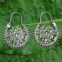 Sterling silver hoop earrings, Gate to Paradise