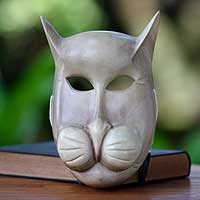 Wood mask, 'Feline Mystique'