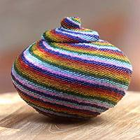 Beaded rattan basket, 'Whirlpool' - Hand Beaded Striped Natural Fiber Basket