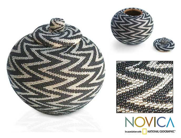 NOVICA - Home Decor - Home Accessories - Baskets - Beaded rattan basket, 'Night Thunder' :  black home handmade home decor
