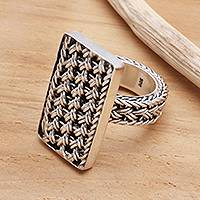 Sterling silver band ring, 'Woven Elegance'