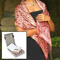 Silk batik scarf, 'Red Fern'