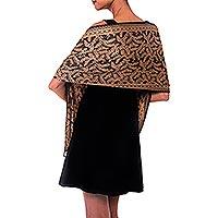 Silk batik scarf, 'Black Fern' - Artisan Womens Batik Silk Scarf