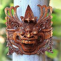 Wood mask, 'Brown Barong' - Hand Carved Wood Balinese Barong Mask