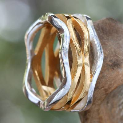 Gold accent band ring, 'Ocean Waves' - Gold Accent and Sterling Silver Band Ring