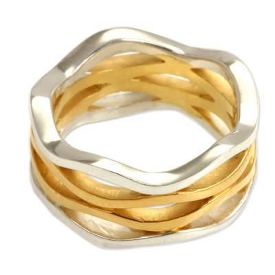 Gold Accent and Sterling Silver Band Ring