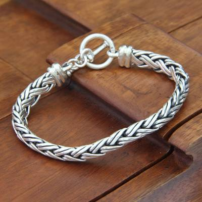 Sterling silver braided bracelet, 'Connected Lives' - Sterling Silver Braided Chain Bracelet