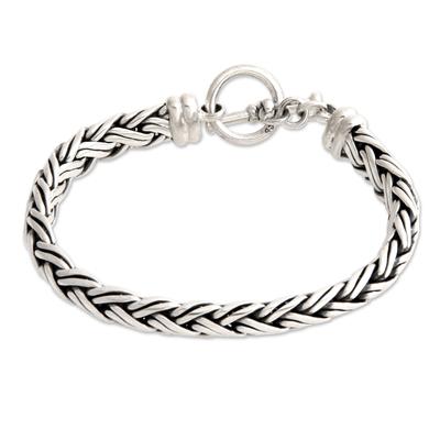 Sterling Silver Braided Chain Bracelet