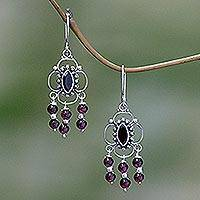 Garnet chandelier earrings, 'Love Blossoms' - Garnet Sterling Silver Chandelier Earrings
