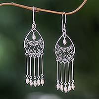Pearl chandelier earrings, 'Moonbeams' - Pearl chandelier earrings