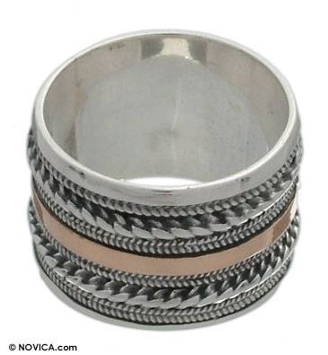 Unique Sterling Silver and Gold Accent Band Ring