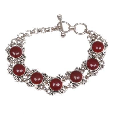 Carnelian Silver Wristband Bracelet