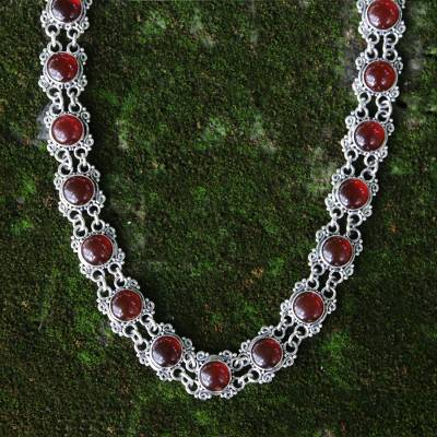 Carnelian choker, 'Radiant Queen' - Sterling Silver Carnelian Statement Necklace