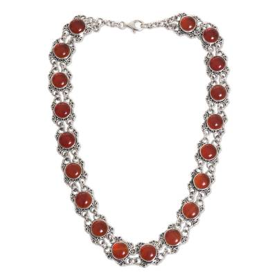 Unique Sterling Silver And Carnelian Choker Statement Necklace