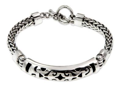 Handmade Braided Cutout Sterling Silver Pendant Chain Bracelet