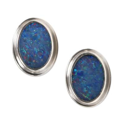 Handcrafted Sterling Silver and Opal Earrings