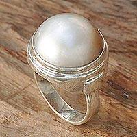Cultured mabe pearl cocktail ring, 'White Sophistication' - Hand Crafted Sterling Silver and Cultured Pearl Ring