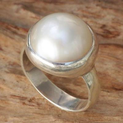 Cultured pearl dome ring, Bubble Beauty