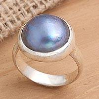 Cultured mabe pearl solitaire ring, 'Blue Bubble Beauty' - Fair Trade Pearl and Sterling Silver Ring