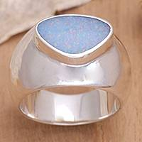 Opal solitaire ring, 'Loyal Love' - Handmade Modern Silver and Opal Ring