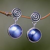 Cultured pearl dangle earrings,