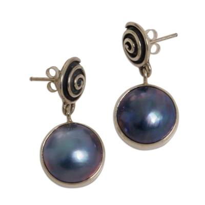 Sterling Silver Pearl Dangle Earrings from Indonesia