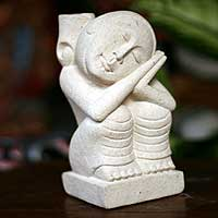 Sandstone sculpture, 'Peaceful Sleep' - Handcrafted Stone Sculpture