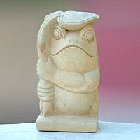 Sandstone sculpture, 'Frog with a Leaf' - Handcrafted Sandstone Sculpture