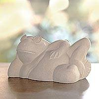 Sandstone sculpture, 'Frog Relaxes' - Sandstone sculpture