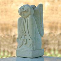 Sandstone sculpture, 'Beautiful Dreamer' - Hand Made Stone Sculpture from Indonesia