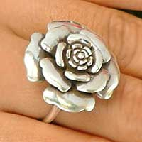 Sterling silver cocktail ring, 'Magic of the Rose' - Sterling Silver Cocktail Ring