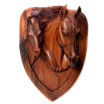 Wood relief panel, 'Wild Horses' - Suar Wood Wall Sculpture