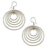 Sterling silver dangle earrings, 'Five Haloes' - Concentric Circle Handcrafted Dangle Earrings in Silver 925