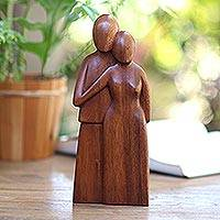 Wood sculpture, 'Young Family' - Handcrafted Romantic Wood Sculpture