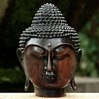 Wood sculpture, 'Buddha's Head' - Sono Wood Sculpture