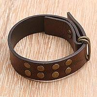 Leather bracelet, 'Rustic' - Indonesian Brown Leather Bracelet