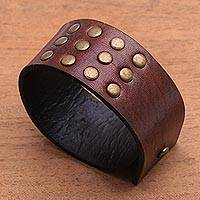 Leather bracelet, 'Warrior' - Leather bracelet