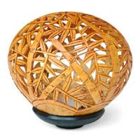 Coconut shell sculpture, 'Bamboo Grove' - Handcrafted Leaf and Tree Coconut Shell Carving