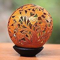 Coconut shell sculpture, 'Tropics' - Hand Carved Coconut Shell Sculpture