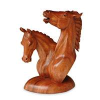 Wood sculpture, 'Equine Twins' - Wood sculpture