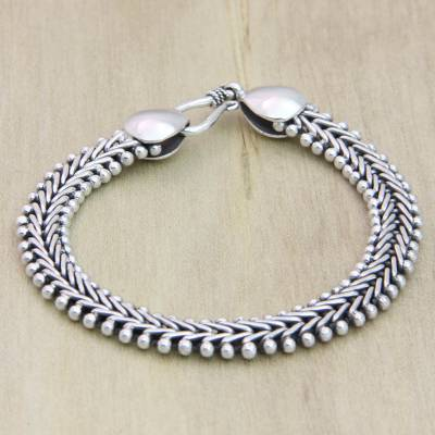 Sterling silver braided bracelet, Herringbone