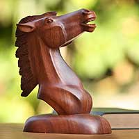 Wood statuette, 'Free Spirit' - Wood Horse Sculpture