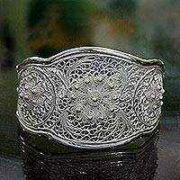 Sterling silver cuff bracelet, 'Eve's Garden' - Floral Silver Filigree Bracelet from Indonesia