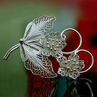 Sterling silver brooch pin, 'Azalea Bouquet' (Indonesia)