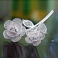 Sterling silver filigree brooch pin, 'Wild Roses' (Indonesia)