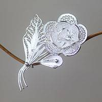 Sterling silver brooch pin, 'Sweetheart Rose' - Filigree Sterling Silver Floral Brooch Pin