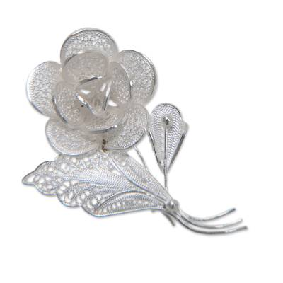 Filigree Sterling Silver Floral Brooch Pin